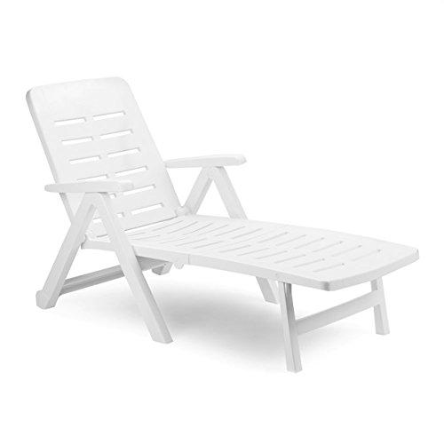 Liege mit hohem Liege- + Sitzkomfort Sonnenliege Gartenliege Relaxliege Saunaliege Kunststoff Weiß 96x72x189cm
