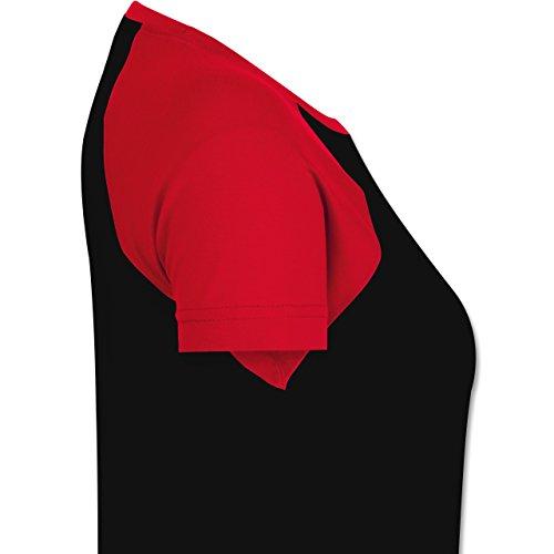 Comic Shirts - Oktopus Moin Moin - Zweifarbiges Baseballshirt/Raglan T-Shirt für Damen Schwarz/Rot