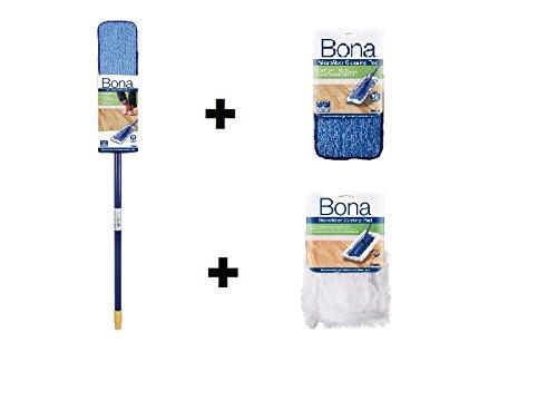 Floor Bona Mop (Bona Floor Mopp Set - Teleskop Mop mit 2 x Mikrofasertuch und 1 x Staubpad)