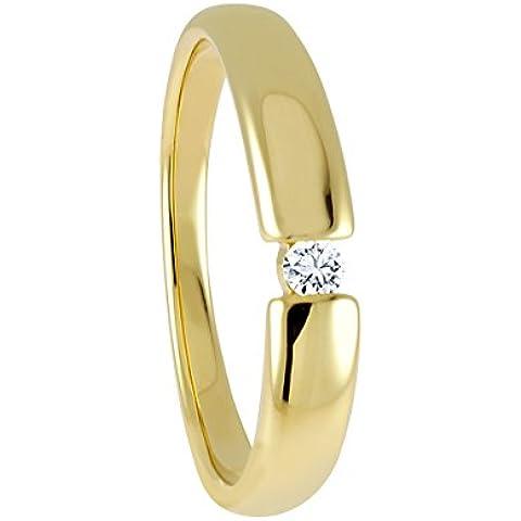 Diamond Line - Anello in oro giallo (14 carati) con diamante donna - Giallo Tensione In Oro Anello