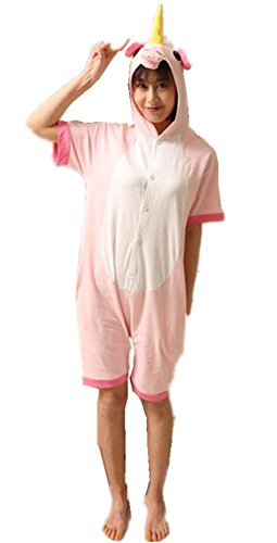 Kenmont Jumpsuit Tier Cartoon Einhorn Pyjama Overall Kostüm Sleepsuit Cosplay Animal Sleepwear für Kinder / Erwachsene (Small, Pink Sommer Einhorn) (Pink Einhorn Kostüm)