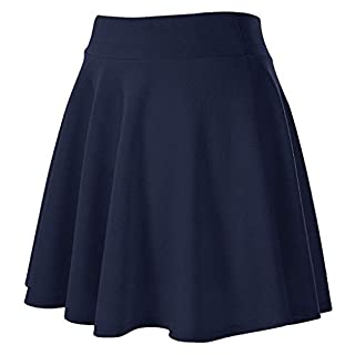 PRINCER Women Girls Short High Waist Pleated Skater Tennis School Skirt Basic Solid Versatile Stretchy Flared Casual Mini Skirt Stretchy Skirt Office School Outdoor Navy