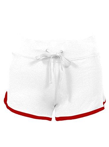 SWISSWELL Damen Sport Shorts Kurze Hosen Baumwolle Yoga Athletik Tanzen Shorts Fitness Hot Pants Hipster Workout, mit leichtem Figur formenden Effekt Weiss-Rot XL
