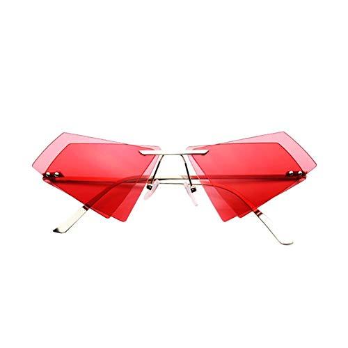 Drawihi Sonnenbrille Unregelmäßige Doppelschicht Dreieckige Polarisierte Sonnenbrillen UV400 Schutz Unisex für Reise Sport im Freien (Rot)