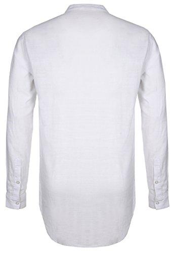 Sublevel Camicia da Uomo a Manica Lunga con Colletto Alla Coreana | Camicia Business Basic in Cotone con Vestibilità Regolare Bianco
