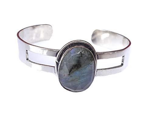 India Jewel Store Handgemachte authentische Labradorit Edelstein verstellbare Mode Armband für Frauen Moderne Manschette Armband 925 versilbert einzigartige Mode Armreif