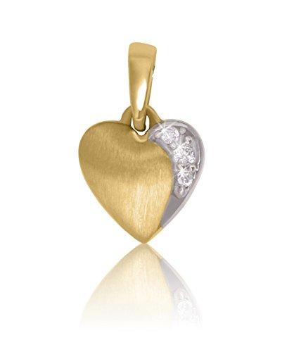 MyGold Herz Anhänger (Ohne Kette) Gelbgold Weißgold 333/750 Gold (8 Karat / 18 Karat) Bicolor Zirkonia 9mm x 13mm Herzform Herzchen Goldanhänger Valentinstag Geschenke Für
