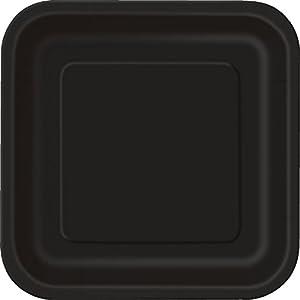 Unique Party- Paquete de 14 platos cuadrados de papel, Color negro, 23 cm (32060)