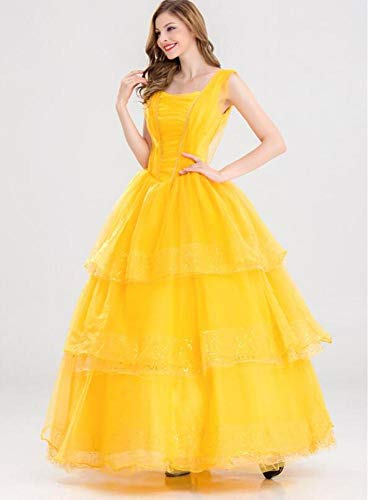 POIUYT Damen Film Cosplay Dress Schönheit Und Biest Prinzessin Dress Cosplay Kostüm Ball Kostüm Halloween Geburtstag Party Erwachsene Dress Up Dress,XXL-Yellow (Für Kostüm Erwachsene Biest)