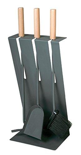 Kaminbesteck - anthrazit beschichtet mit Griffen aus Holz B/H/T = 23/60/16,5 cm