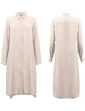 Hijab Gem La Mujer Camiseta Midi Hi-Lo con Botón Frontal colgajo Vestimenta Casual Blusa Manga Completa con Un...