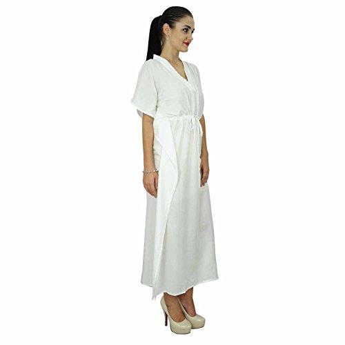 ... Bimba femmes caftan à long solide plage de coton doux couvrir caftan  maxi Blanc ... 19292aa217f