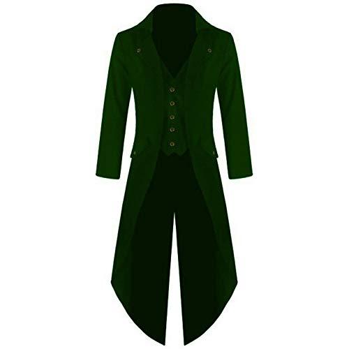 teampunk Gothic Jacke Vintage Viktorianischen Langer Mantel Kostüm Cosplay Kostüm Smoking Jacke Uniform (XXL, Grün) ()