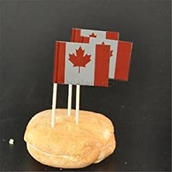 50pcs Canada Flag Picks Paper Toothpick Food Cupcake Cocktail Party Decor
