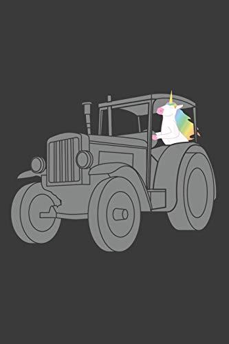 Einhorn fährt Traktor: Liniertes DinA 5 Notizbuch für Musikerinnen und Musiker Musik - Fahrt Einhorn Kostüm