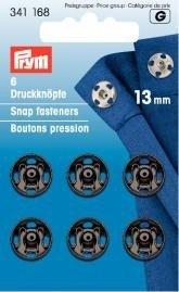 Prym Druckknöpfe zum Aufnähen, 13 mm, messingfarben/Schwarz, 6 Stück