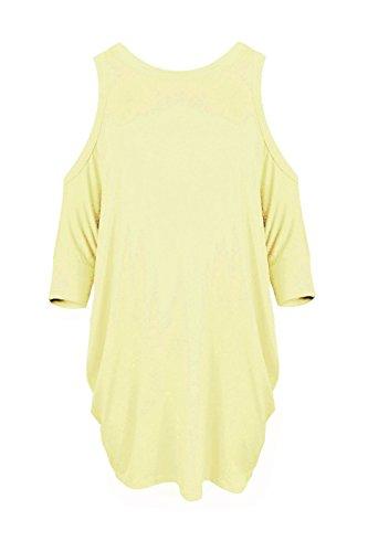 Janisramone Frauen Damen Schnitt aus Schulter Kurz Ärmel reizvolles T Shirt T Lang Kleiden Batwing oberste Stein