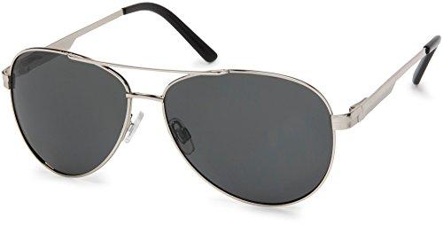 styleBREAKER polarisierte Sonnenbrille, Pilotenbrille mit Federscharnier, Etui und Putztuch, Unisex 09020046, Farbe:Gestell Silber/Glas Grau