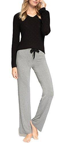 Schlafanzug Rachel/2 in 1 Umstandsschlafanzug Sleep Shirt + Hose Pyjama Nachtwäsche Still- Pyjama (S (34-36), Schwarz/Anthracite)