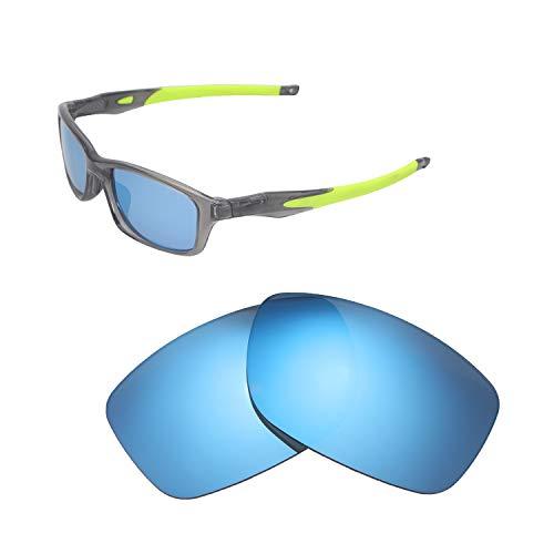 Walleva Ersatzgläser für Oakley Crosslink 55 (OX8030 Serie) Sonnenbrille - Verschiedene Optionen erhältlich, Unisex-Erwachsene, Ice Blue Coated - Polarized, Einheitsgröße
