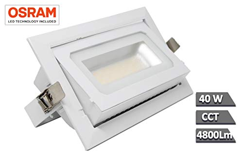 FactorLED Foco Proyector LED 40W Osram Chip, Rectangular 120º, Empotrable, Iluminación Interior,...