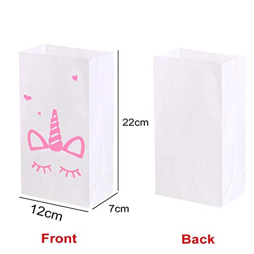 Macxy - Einhorn Paper Bag Unicorn-Party-Geburtstags-Party-Dekorationen für Kinder 10pcs rosa Einhorn-Geschenk-Beutel-Hochzeits-Bevorzugungen und Geschenke [White Unicorn]