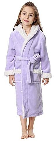 FLYCHEN Fille Peignoir de Bain Doux Robe Polaire Longue Pyjamas à Capuche(Violet,120(Stature 120-130cm))