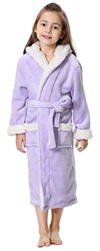4d0924e594fd5 OLIPHEE Fille Peignoir de Bain Doux Robe Polaire Longue Pyjamas à Capuche