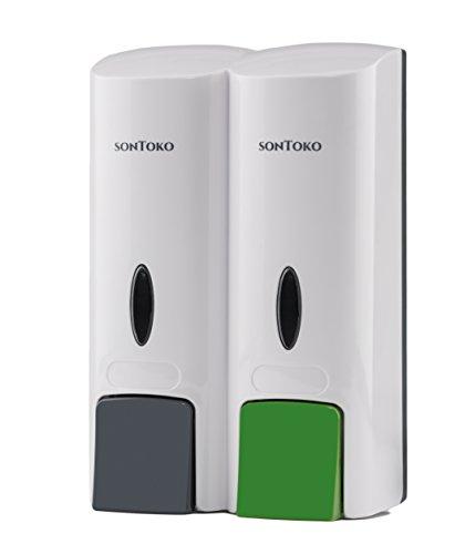 SONTOKO Seifenspender zur Wandmontage | schickes Design, Shampoospender mit 2 Containern, 2x250 ml