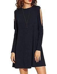 Yajiemei Mini Vestido de Columpio con Hombro frío para Mujer Vestido de  otoño Vestidos Camiseta (Color   Black b721da0ee7fb