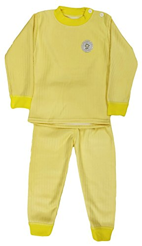 Miss U baby Boys High Quality Regular Comfort Fit full Sleeves Winter Wear Cotton Blend Top And Pyjama Set With Inner Fur (YELLOW, 70(4-5 Years))