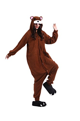 YUWELL Kigurumi Pigiama Unisex Adulto Anime Cosplay Halloween Costume Attrezzatura, Orso Bruno XL (Height:180-190cm)