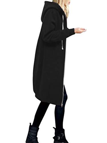 Onsoyours Damen Herbst Winter Outing Stil Frauen Warm Reißverschluss Öffnen Clubbing Dating Elegante Hoodies Sweatshirt Langen Mantel Jacke Tops Outwear Hoodie Schwarz 38