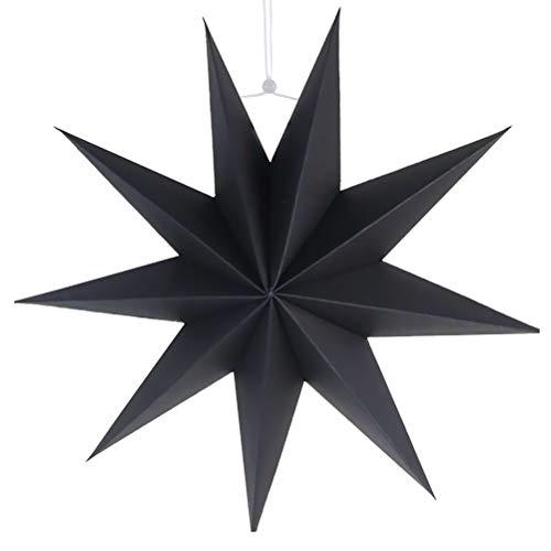 SUPVOX Papier Lampenschirm Handmade Star Lantern Umweltfreundlich Lampe Zubehör 30cm (Schwarz) (Schwarzes Papier-lampenschirm)