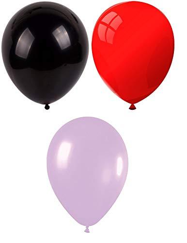 INERRA Globos - Pack of 75 Mezclado (25 X Negro & 25 X Rojo & 25 X Lila) Látex 10' For Helio o Aire