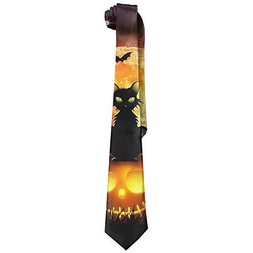 uykjuykj Happy Halloween Black Cat Cotton Fashion Business Neck Ties Solid Ties Elegant Necktie Formal Party Suit Necktie For Men