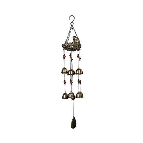 Caerling Neuer Vogel und Nest Windspiel Windspiele zum Aufhängen, griechischer Stil, Dekoration für Außen- und Innenbereiche,12 Glocken, 25 Zoll * 5 Zoll (25 * 5, Brown)
