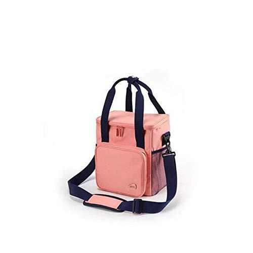DYTJ-Lunchbox Bento Box Brotdose Stoff-Isolationstasche, Picknicktasche Im Freien, Wasserdichte Tragbare Lunch-Tasche Mit Großer Kapazität(Blau, Pink, Rot)(Farbe: Rot), Pink (Bento-lunch-box Mit Träger)