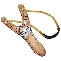 Juguetutto- Slingshot giocattolo intagliato e nastro di gomma a forma di Tigre