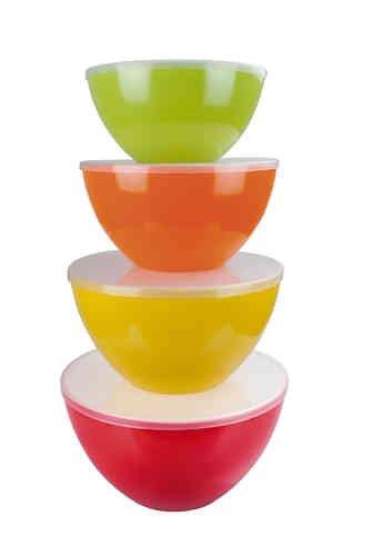 Gimex Melamin Schüssel Set 4-Teilig Rainbow stapelbar leicht Frühstücksschüssel Campingbedarf