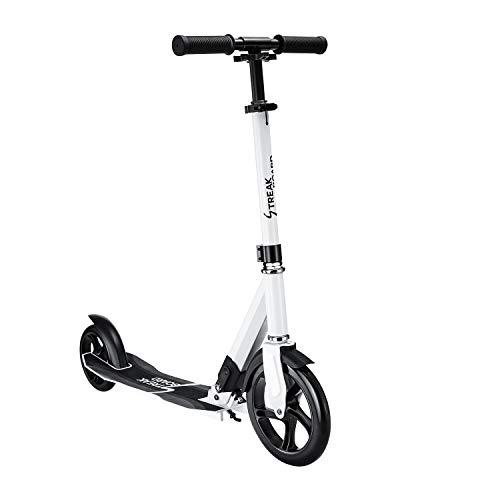 streakboard Scooter Roller für Erwachsene mit 230mm Big Wheel, Höhenverstellbar Kickscooter Klappbar Tretroller mit Tragegurt Schwarz, Weiß (Weiß)