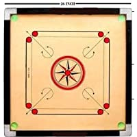 26 INCH Wooden Round Pocket Carrom with Coins, Striker and Carrom Powder 66.04 cm Carrom Board (Multicolor)