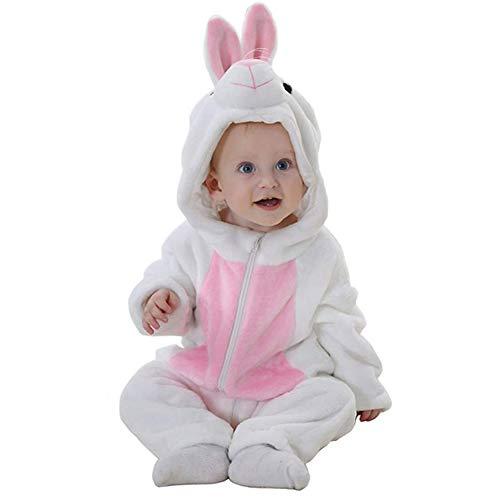 Kostüm White Baby Rabbit - Unisex Pyjama Tier Strampler Kostüme Flanell Bekleidung Jumpsuit Schlafanzug Overall Baby Spielanzug (Rabbit White,70cm)