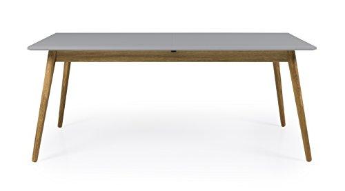 Tenzo 1681-012 Dot Designer Table de Salle à Manger rectangulaire avec Une allonge, Gris/Chêne, Plateau Panneaux MDF ép. 25 mm laqués. Pieds Massif huilé, 75 x 160-205 x 90 cm (HxLxP)