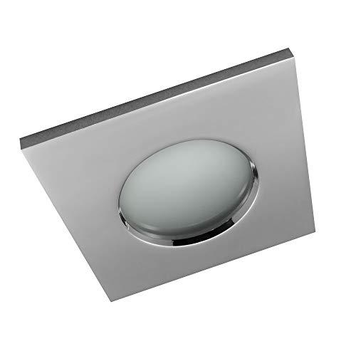 3x Bad Einbaustrahler IP44 Einbaustrahler Feuchtraum Badezimmer Bad Dusche Sauna inkl. GU10 Fassung Rostfrei Einbauspot Deckeneinbaustrahler eckig chrom