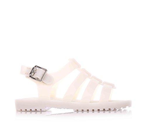 MINI MELISSA - Sandalo beige in plastica MELFLEX, gomma profumata, chiusura a strappo, ragnetto scarpa bianco, Bambina-27