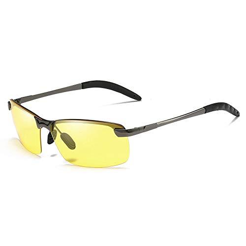 Gläser Herren Nachtsichtbrille Blendschutz Polarized Driving Night Sunglasses Brille (Color : Dark Sliver, Size : Kostenlos)