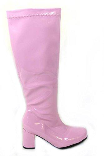 Damen-GoGo-Stiefel für Kostümfeiern, 60er/70er-Retro-Look, Mehrfarbig - babyrosa - Größe: 38
