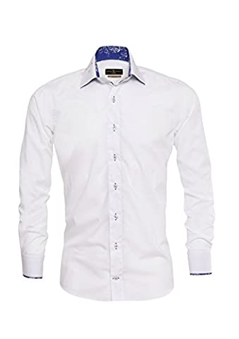Giorgio Capone Herrenhemd, 100% Baumwolle, weiß, besonderer Kragen mit Lasche, Slim & Regular Fit (L (Easy Care Leinenhemd)