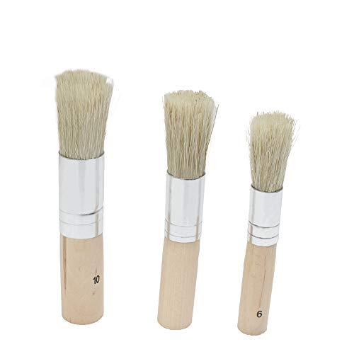 3 Stück Kreidefarbe Wachs Pinsel Set – natürliche Borsten Runde Malpinsel 20 mm 30 mm 50 mm Das...